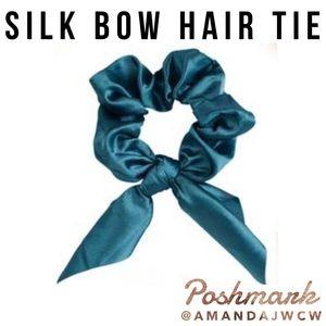 Silk Bow Hair Tie Scrunchie - Blue Teal